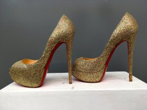 Christian Louboutin LADY PEEP 150 GLITTER PUMPS Multicolor, Red Bottoms