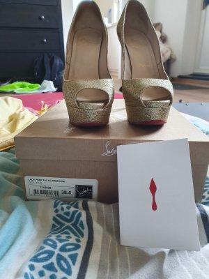 Christian Louboutin Lady Peep 150 Gold Glitzer High Heels