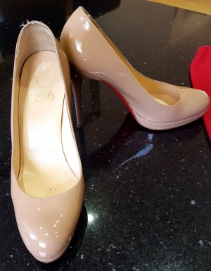 Christian Louboutin Pumps High Heels Lackleder Leder lack nude beige 37,5 38