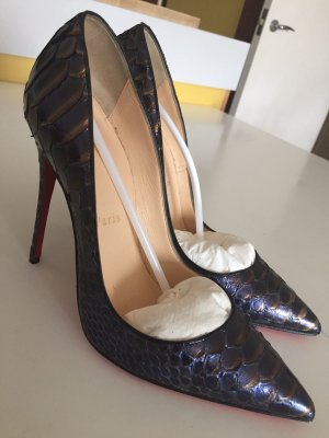 Christian Louboutin - So Kate, 120, Python Snake Blue Nuit Pump Heel