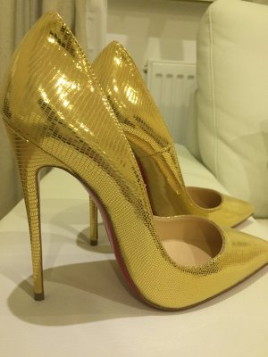 "Christian Louboutin ""so kate laminato dino"" Gold 37 Pumps highheels"