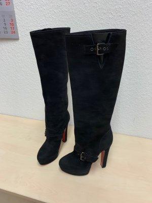CHRISTIAN LOUBOUTIN Stiefel 38 Wildleder schwarz-kaum getragen-sehr elegant sexy
