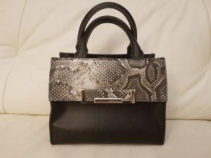 Handtas zwart-grijs Leer