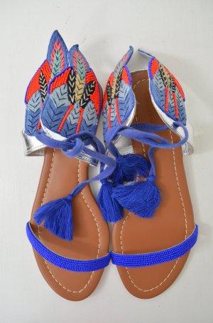 CHRISTOPHE SAUVAT Damen Sandalen Sandaletten Mod.Asterix Leder Perlen Gr.37