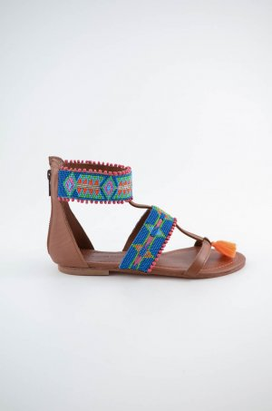 Strapped High-Heeled Sandals multicolored leather