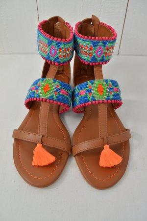 CHRISTOPHE SAUVAT Damen Sandalen Sandaletten Mod.Balti Sandal Leder Perlen Gr.36