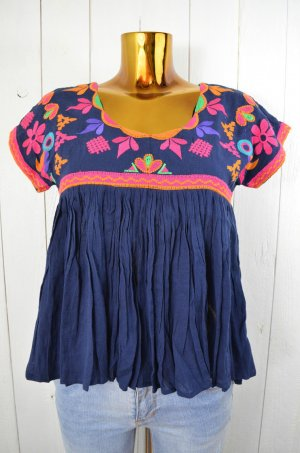 CHRISTOPHE SAUVAT Damen Tunika Bluse Blau Bunt Bestickt Etno Baumwolle Neu S