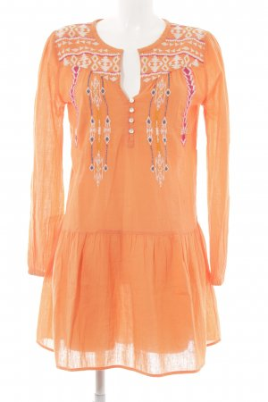 Christophe Sauvat Robe tunique orange motif ethnique Look de plage