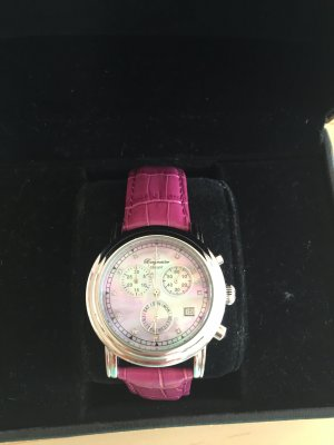 Watch With Leather Strap silver-colored-violet