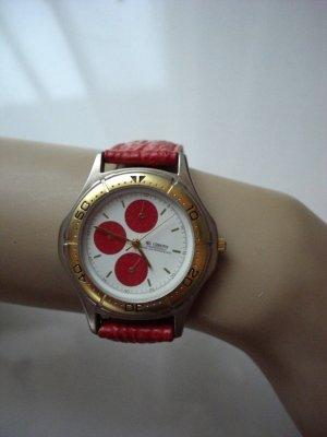 Chronographen  Design rotes echtes Lederband  ausgefallene Uhr