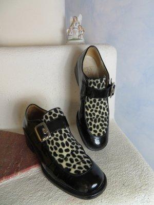 chunky F.D.L. Italy  Leder Loafer Lackleder Derbys Schnallen Schuhe Schwarz Weiß Gr. 36,5 bis 37 Blockabsatz Flats