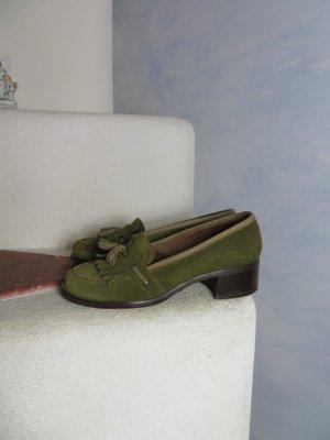 Chunky oliv grün Peter Hahn Slipper Gr. 36,5 Blockabsatz Wildleder Tassel Loafer