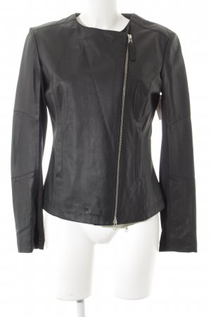 Cigno Nero Leather Jacket black material mix look