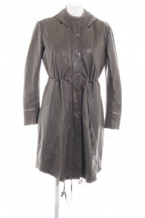 Cigno Nero Leather Coat light grey casual look