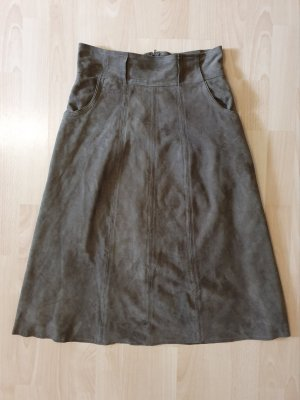 Cigno Nero Leather Skirt grey brown-khaki