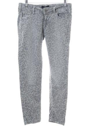 Cimarron Skinny Jeans light grey-silver-colored leopard pattern