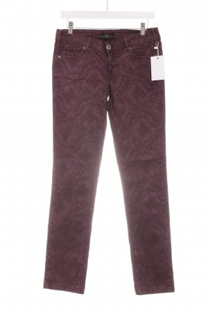 Cimarron Skinny Jeans braunviolett florales Muster Casual-Look