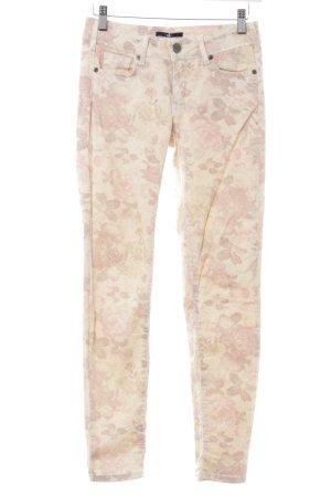 Cimarron Skinny Jeans hellgelb-rosa Allover-Druck Boho-Look