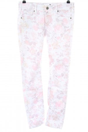 Cimarron Slim Jeans weiß-pink Blumenmuster Casual-Look