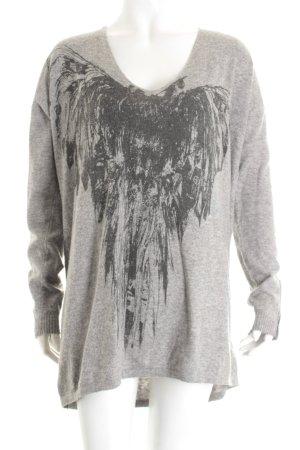 Cindstory V-Ausschnitt-Pullover hellgrau-grau Street-Fashion-Look