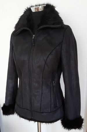 Cindy Crawford für C&A Winterjacke in Wildleder Optik, Gr. 36 Schwarz