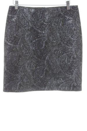 Cinque Bleistiftrock schwarz-silberfarben Paisleymuster Elegant