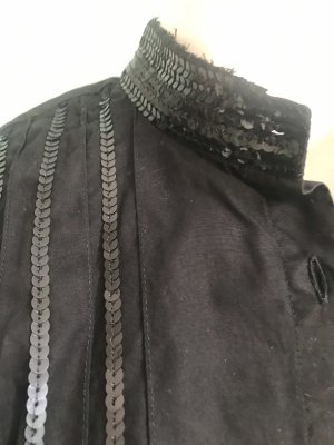 Cinque Bluse mit abgeschnittenem Stehkragen und Pailletten in schwarz