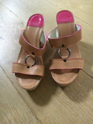 Cinque Sandalo alto con plateau rosa-color cammello Pelle