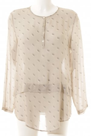 Cinque Langarm-Bluse creme-anthrazit abstraktes Muster Casual-Look