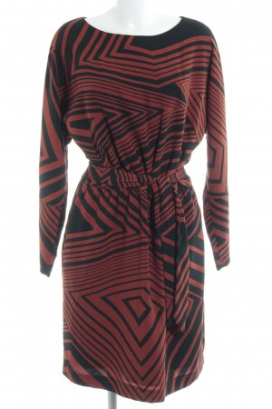 Cinque Langarmkleid dunkelorange-schwarz Streifenmuster 70ies-Stil