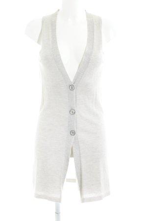 Cinque Gilet long tricoté beige clair-blanc moucheté style décontracté