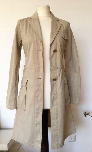 * CINQUE * Trench Coat leichter Mantel creme hellbeige Knöpfe gold Gr 36 / 38 M S