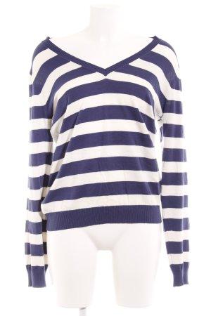Cinque V-Ausschnitt-Pullover stahlblau-weiß Streifenmuster Casual-Look