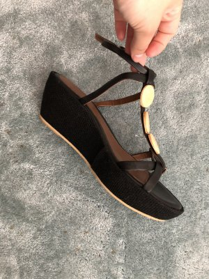 Cinque Wedge Sandals black-bronze-colored leather