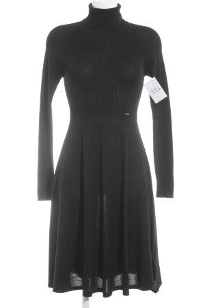 Cinque Vestido de lana negro-color plata elegante