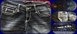 Cipo & Baxx Jeans Hose dunkelblau mit weiße dicke Nähte Gr.36