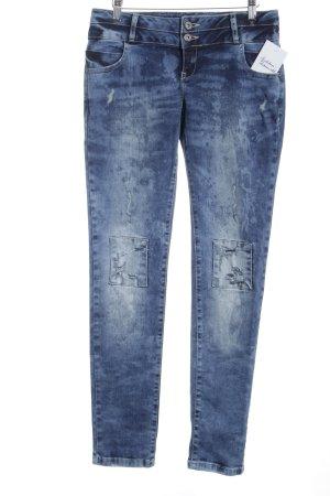 Cipo & Baxx Slim Jeans stahlblau Bleached-Optik