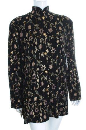 Citiknits Blusenjacke schwarz-goldfarben florales Muster Street-Fashion-Look