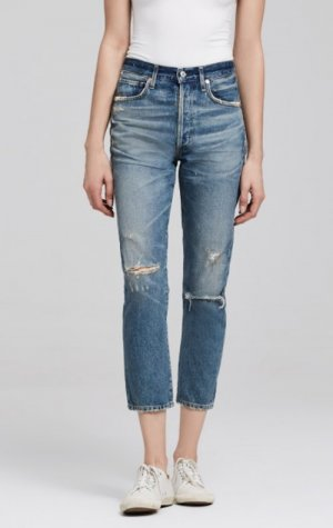 Citizens of Humanity Dree Crop High Rise Slim Straight Jeans blau 25 - wie NEU