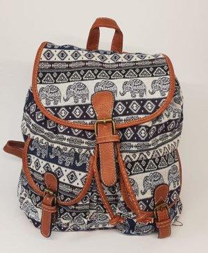 Backpack brown-steel blue