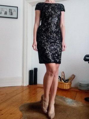 CK Calvin Klein Abendkleid Wasserfallausschnitt schwarz pailetten 36 34 S XS NEU