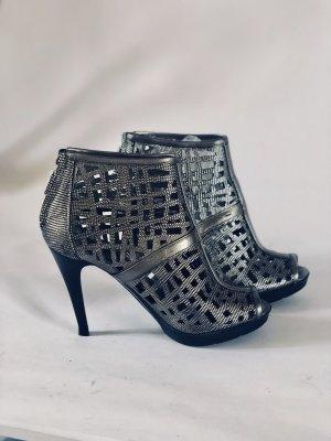 Calvin Klein Bottes à bout ouvert argenté-gris cuir