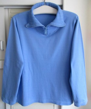 CLARINA COLLECTION Pullover Shirt Langarm Baumwolle hellblau uni, Gr. 46