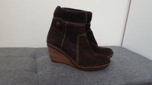 Clarks Damen Leder Stiefeletten Ankle Boots Keilabsatz dunkelbraun Größe 39
