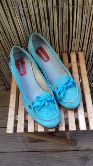 Clarks Platform Pumps baby blue-turquoise suede