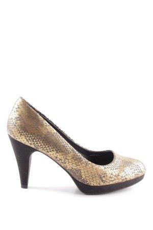 Clarks High Heels goldfarben-schwarz Animalmuster Elegant