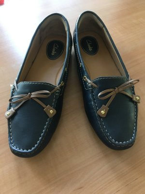 Clarks Moccasins dark blue leather