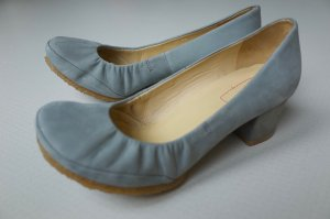 Clarks High-Front Pumps silver-colored suede
