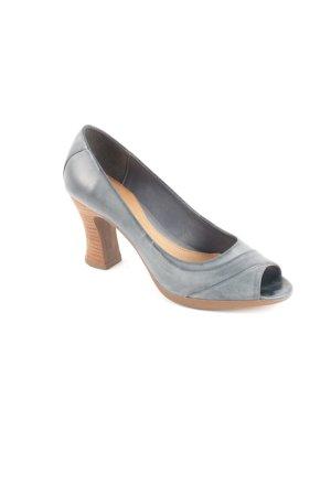 Clarks Peep Toe Pumps slate-gray-light brown elegant