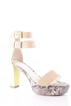 Clarks Strapped High-Heeled Sandals lime yellow-light brown reptile print